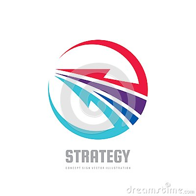 Strategy - concept business logo template vector illustration. Development creative sign. Abstract arrow in circle shape. Vector Illustration