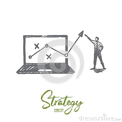 Free Strategy, Marketing, Graph, Diagram, Arrow Concept. Hand Drawn Isolated Vector. Royalty Free Stock Photography - 130812617