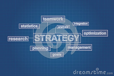 Strategy planning concept word cloud on blueprint