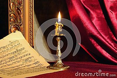Strato di musica e della candela