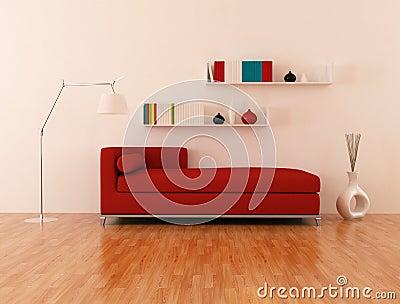 Strato Rosso In Salotto Moderno Immagine Stock Libera da ...