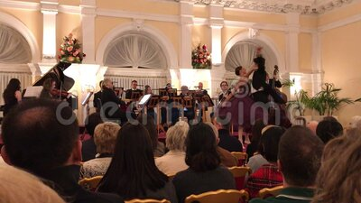 Strauss and Mozart concert in Vienna stock footage