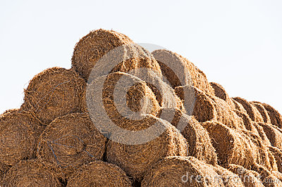 Straw bale stack close-up