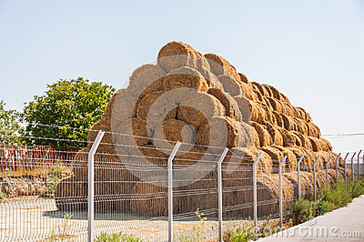 Straw bale stack farm yard
