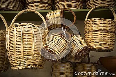 straw baskets stock photo image 60907128. Black Bedroom Furniture Sets. Home Design Ideas