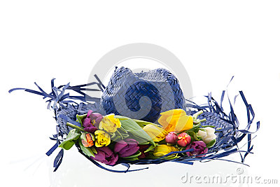 Straw blue hat with flowers