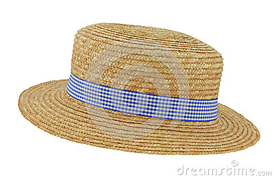 Straw Boater with Check Band