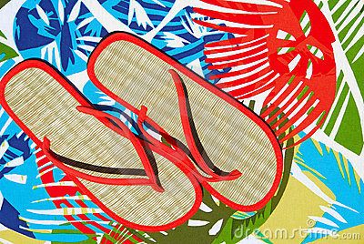 Straw Flipflops on Tropical Mat