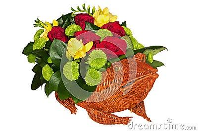 Straw frog full of flowers