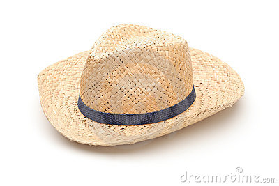 A straw hat with blue strap
