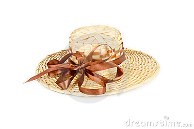 Straw hat with brown bowknot