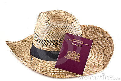 Straw hat with european passport.