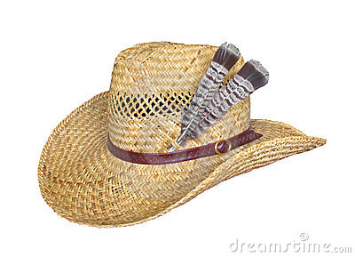 Straw hat with feathers isolated on white.