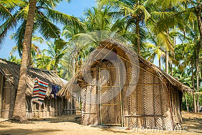 Straw hut on Paradise beach in Goa