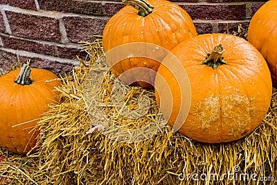 Straw an Pumpkins