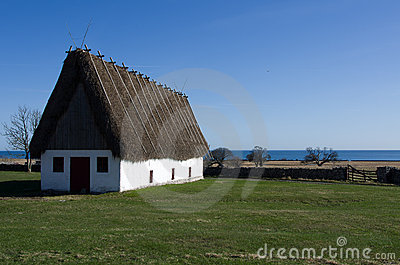 Straw roofed cottage house