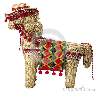 Straw  spanish donkey with  path