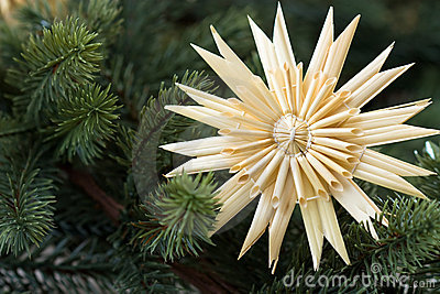 Straw star with fir bough