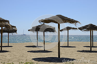 Straw umbrellas