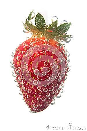Strawberrie in water bubble