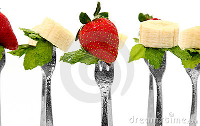 Strawberries and Bananas with mint on Forks