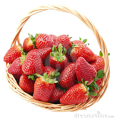 Strawberries in a basket .