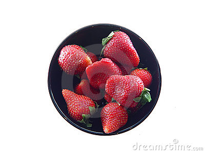 Strawberries in Black Bowl