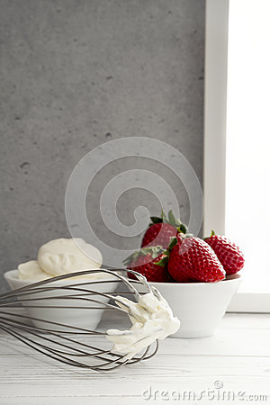Strawberries And Whipped Cream Bowl Strawberries In Bowl W...