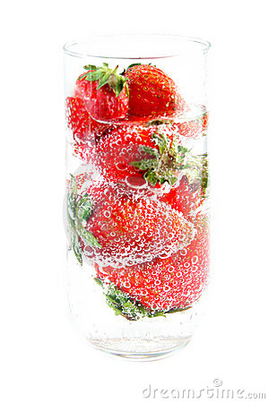 Strawberries and Bubbling Water