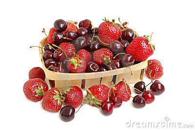 Strawberries and cherries in a basket
