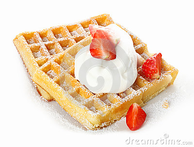 Strawberries and cream on a waffle