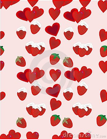 Strawberries and hearts background