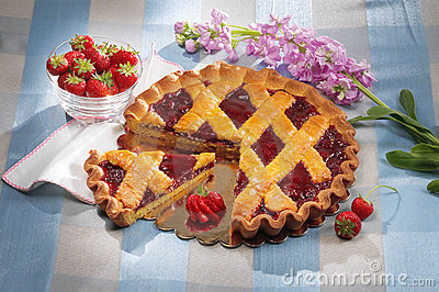 Strawberries jam tart
