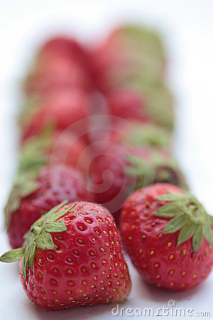 Strawberries in line