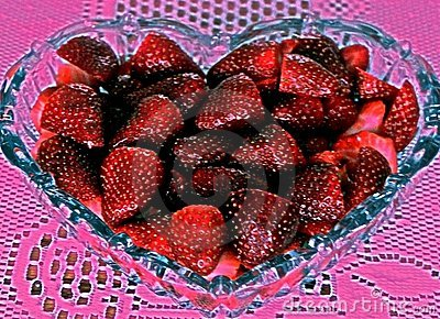 Strawberries in shape of heart