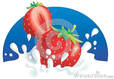 Strawberries splashing in milk
