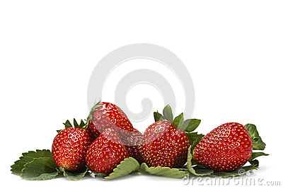 Strawberries and their leaves.