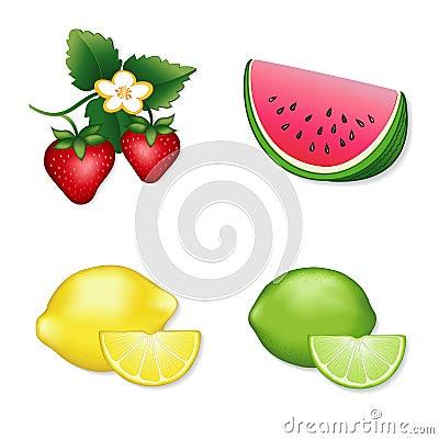 Strawberries, Watermelon, Lemon & Lime