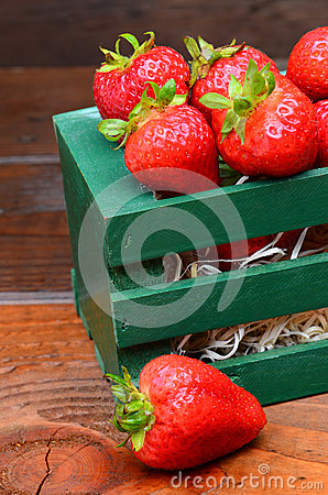 Strawberries in Wood Crate