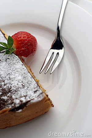 Free Strawberry And Chocolate Dessert With Fork Stock Images - 1272304