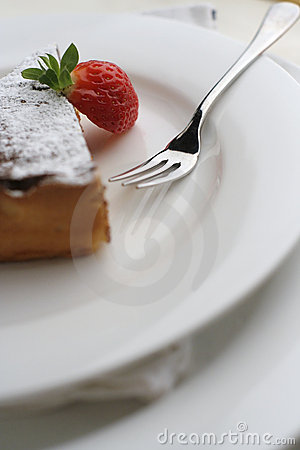 Free Strawberry And Chocolate Dessert With Fork; Tall Macro View Royalty Free Stock Image - 1272316