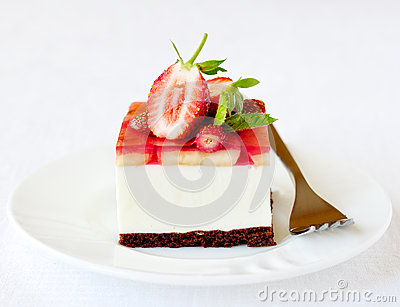 Strawberry and banana jelly mousse cake, selective focus