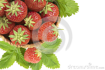 Strawberry in  basket.