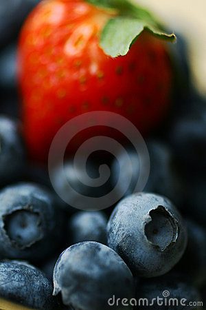 Strawberry and blueberries