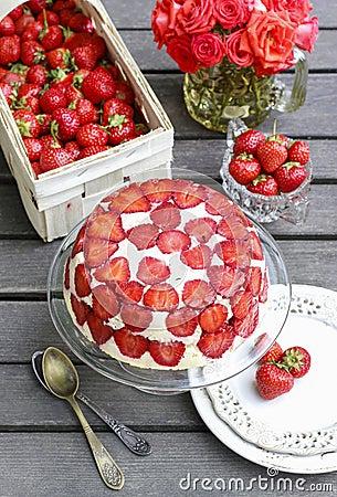 Strawberry cake on cake stand