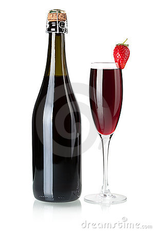 Strawberry champagne bottle and glass