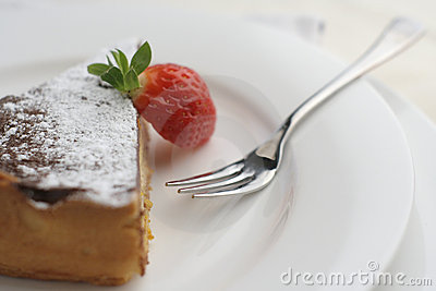 Strawberry and Chocolate dessert with fork; macro wide view