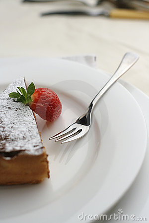 Strawberry and Chocolate dessert with fork; tall view Shallow Do