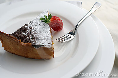 Strawberry and Chocolate dessert with fork; wide view