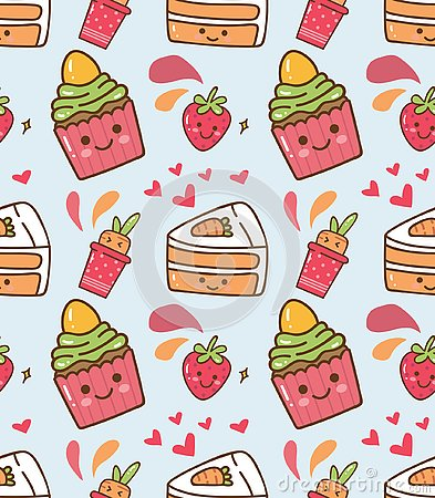 Strawberry cupcake kawaii pattern Stock Photo